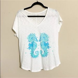 Lilly Pulitzer Tops - Lilly Pulitzer White Teal Seahorse Tee Size Small